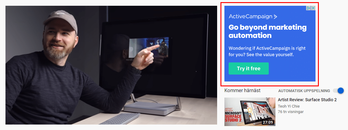 Youtube in display ads
