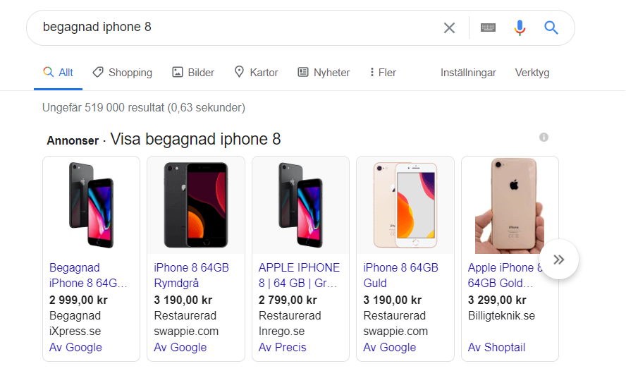 Google shopping sökning